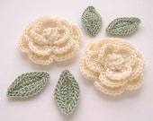 "Cream 1-3/4"" Crochet Rose Flower Embellishments w/ Leaves Handmade Scrapbooking Fashion Accessories Appliques - 6 pcs. (3280-02L)"