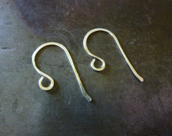 Sterling Silver Large Loop  Hammered Ear Wires -  Choose Your Gauge - 1 Pair