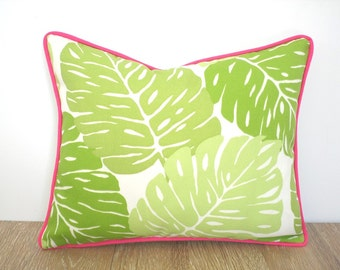 Green outdoor pillow case 16x12, palm leaf pillow green and pink decor, tropical cushion cover beach house decor, palm print pillow case