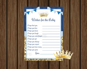 Prince Wishes For Baby, Prince Baby Shower, Blue and Gold Prince King Wishes, Baby Boy Shower, Instant Download