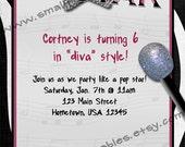 50 Printed Popstar Diva Invites w/ Envelopes