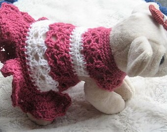 Crochet Pattern - BALLERINA Pooch Doggie Dress - Easy skill level - Dog Puppy Sweater Coat Dress PDF