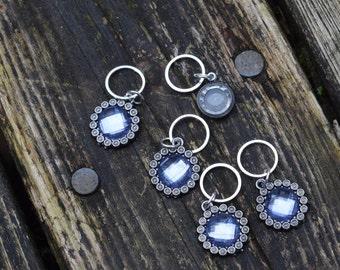 Fancy Blue Swirl Flat Stitch Markers - set of five