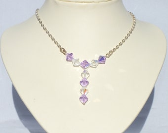 Silver Lilac And Clear AB Swarovski Crystal Illusion Necklace
