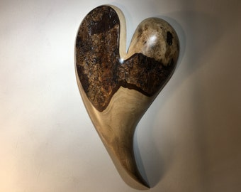 Myrtle wood heart wall hanging Love you more Anniversary gift by Gary Burns the treewiz handmade