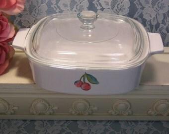 Corning Ware Pyroceram Fruit Basket Casserole, 1 Quart Liter Size, Vintage Corning, Corell Dinnerware, Glass Cookware, Vintage Kitchen