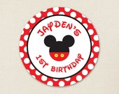 Mickey Mouse Stickers - Mickey Mouse Birthday Party - Sheet of 12 or 24