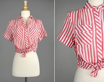 Vintage Sherbet Striped Button Up Shirt- Pink and White Summer Blouse- Size Medium M