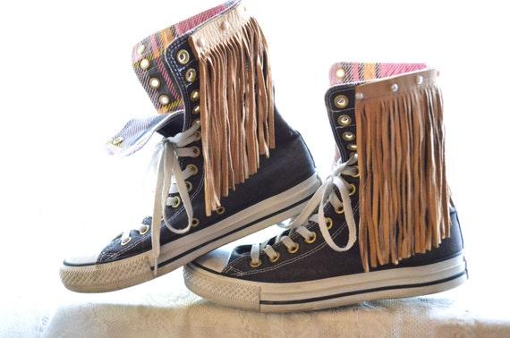 Fall sale Fringe high top converse, Boho fringe shoes, Music festival fringed Converse chuck taylors, Leather fringe, True rebel clothing