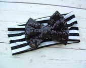 Black Sparkle Bow and Black Striped Knit Headband