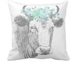 Farmhouse Pillow Cover Farmhouse Decor Floral Cow Pillow in Teal