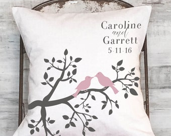 Cotton Anniversary Gift Personalized Gift Pillow Cover Pink LOVE BIRDS Wedding Pillow Cotton Anniversary Gift