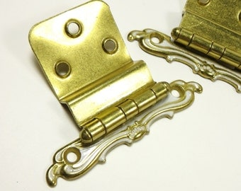 "Vintage Set of Hinges Hollywood Regency Style Brass and White 3/8"" inset"