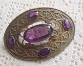 Vintage Victorian Sash Brooch for Repurposing Purple Stones Missing Pin Stem