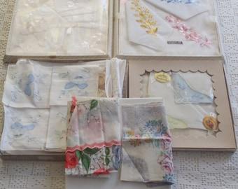 Vintage Boxed Handkerchief Lot 12 Pieces Good Condition