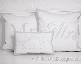 Personalized Mr and Mrs Pillow Covers with Mini Wedding Date Pillow Since Banner Handmade in Canada
