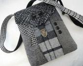 Crossbody Purse Recycled Crossbody Purse, iPhone pocket,Recycled mens suit coat Wool, Eco Friendly, Womens Handbag, Tote bag