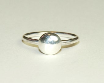 Sterling Silver Ring - Recycled - Dot Ring - Nugget Ring - Size 7 - Simple - Minimalist Jewelry