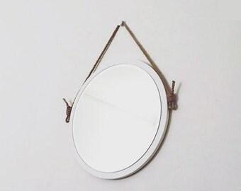 """24"""" Round White Rope Mirror. Nautical Mirror. Modern. Vinyl Leather Mirror. Hanging Mirror. Summer Home Decor."""