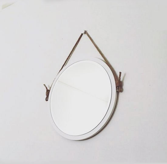 24 round white rope mirror nautical mirror modern. Black Bedroom Furniture Sets. Home Design Ideas