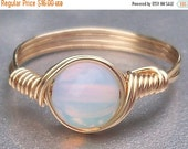 20% OFF Opaline 14k Yellow Gold Filled Custom Sized Wire Wrapped Ring