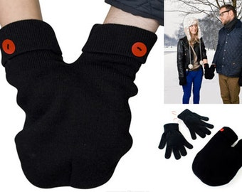 Red Button SMITTEN (for holding hands when its cold outside) GLoves and Smitten Card Included. Share your mitten! FREE Shipping USA