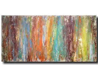 Original Large Abstract painting - 24 X 48  Artist JMJartstudio- Intrigue -Wall art-wall decor  Blue painting-Beach Decor