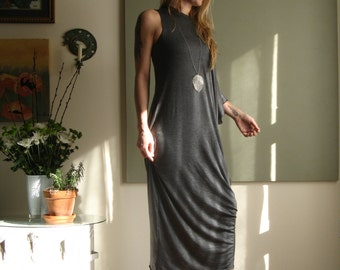 Boho Off Shoulder Kaftan Asymmetric Long Loose Maxi Dress Sleeveless Minimalist Summer Dress XS - XL (More Colours) Rayon/Spandex Jersey