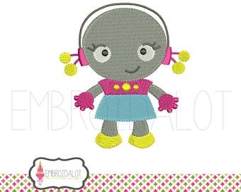 Girl robot embroidery design. Cute, geektacular machine embroidery. Fun geek embroidery for awesome girls. Girls embroidery.