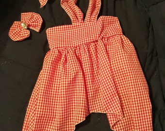 Custom Made OOAK  Red Gingham Halter Sundress