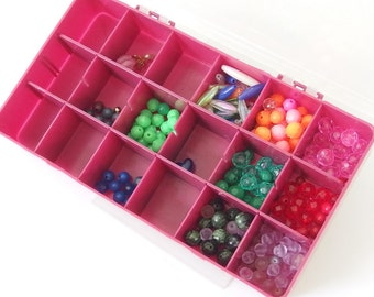 6 - 8mm Plastic / Acrylic Plain and Faceted Round Beads with Plastic Craft Storage Organizer