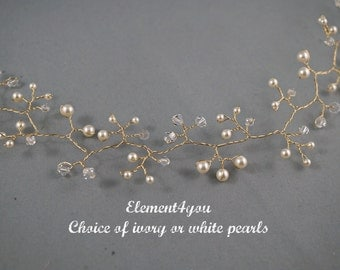 Bridal hair vines, Bridal vines tiara, Wedding hair accessory, Gold vines, Unique hair piece, Pearls crystals headpiece, Curly hair style