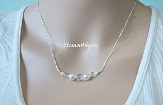 Sterling silver necklace, Bridesmaid necklace, Ivory crystal necklace, Simple jewelry, Swarovski pearls, Pink Grey White Champagne Lavender