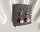 Pearl and gold earrings for bridesmaids, brides,  flower girl gift,  made with Swarovski Pearls in white or ivory
