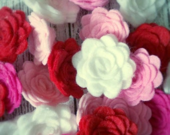 30 WOOL Felt Flowers Valentine's Day Collection