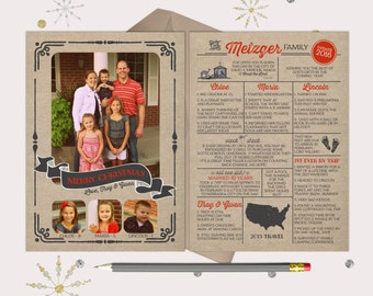 Year in Review Christmas Card - burlap, grey & red -- 4 photos and a family update