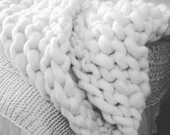 Extreme knits hand knitted  pure wool throw large size  55 inches x 55 inches (140cm x 140cm)