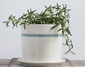 Extra Large Teal Striped Planter