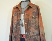 "Brown XL Cotton JACKET - Dark Brown Dyed Upcycled St. Johns Bay Cotton Safari Jacket - Adult Women Plus Size Extra Large (48"" chest)"