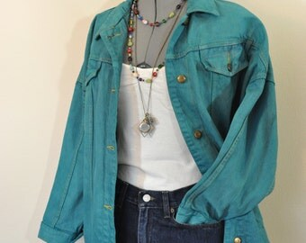 "Green Small Denim JACKET - Emerald Green Dyed Upcycled B.B.I. Vintage 80s Denim Trucker Jacket - Adult Womens Size Small (52"" chest)"