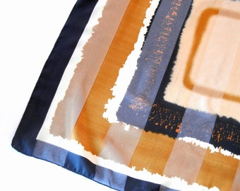 Brown Tones Chiffon Scarf, Camel Copper Brown Black Smudge Abstract Grunge Squares, 80s Symphony Scarfs