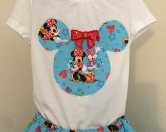 Minnie Mouse and Daisy Duck twirly skirt & shirt set, perfect for Disney, Disney Cruise, photos, parties