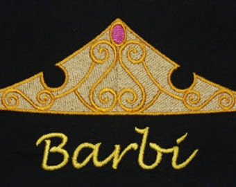 Disney Sleeping Beauty inspired t-shirt embroidered Aurora Tiara and personalized w your name - baby, toddler, girl & woman sizes available