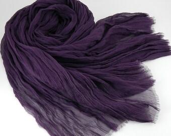 Handmade Silk Scarf --- Dark Purple