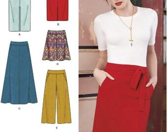 Slim Skirt Pattern, Flared Skirt Pattern, Wide Leg Cropped Pants Pattern, Simplicity Sewing Pattern 8175