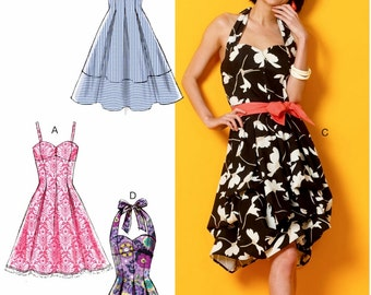 Halter Top Dress Pattern, Strapless Dress Pattern, Sundress Pattern, McCall's Sewing Pattern 6956