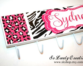 NEW -Sydney Collection-Animal Prints Personalized Wall Hooks -Kids Coat Rack-Jewelry Organizer-Any color,any theme-Made to match name blocks