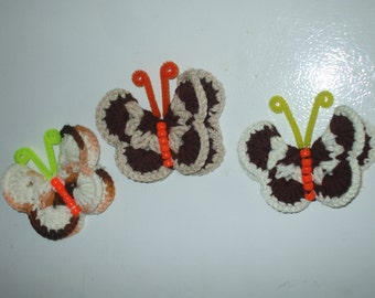 3 crocheted butterfly magnets