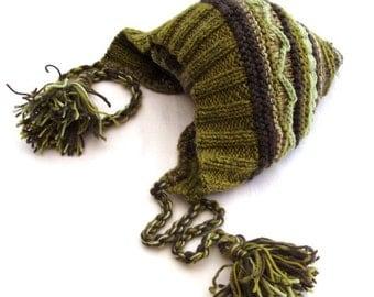 Green women boho pixie chunky hat fairy knit warm merino customized