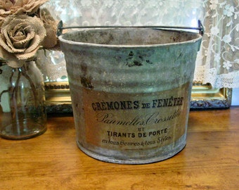 Zinc Bucket - Zinc Pail - French Inspired Metal Pail - Handled Pail - Farmhouse Bucket - Vintage Zinc Bucket